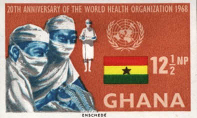 1968 stamp from Ghana featuring 3 doctors wearing face masks.