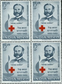 A set of 4 1963 stamps from India all with an image of Henri Dunant. Red Cross Centenary.