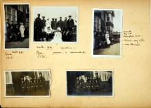 A page of 5 photographs of red cross nurses and men in uniform.