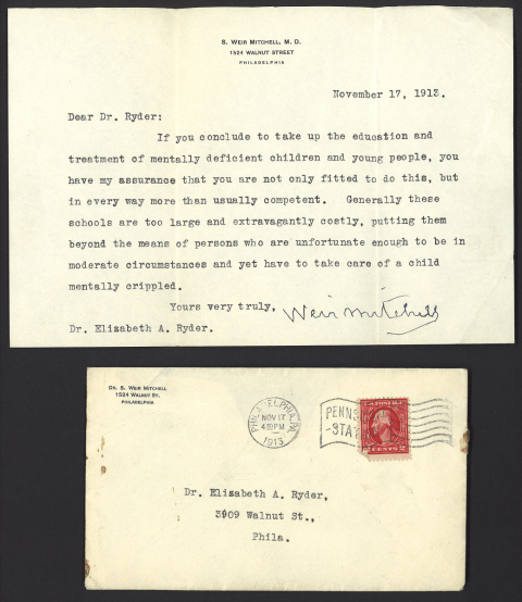 A typwritten letter and it's enveloped postmarked Nov 17, 1913.
