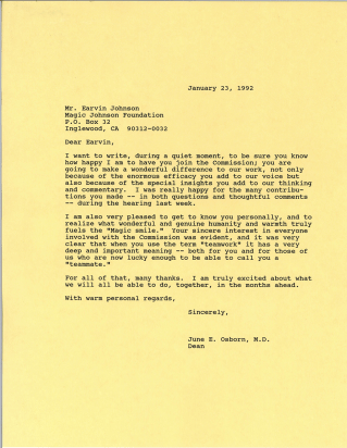Letter to Magic Johnson thanking him for his participation on the Commission