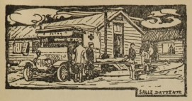 Woodcut of people carrying stretchers and injured people among low buildings and an ambulance.