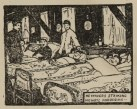 Woodcut of a man sitting up in bed singing in a hospital ward.