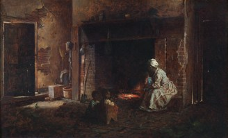 A painting of a black woman with a black child on her knee tends to a cook fire in a dark room.