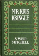 The decorative cover of a hardback book, green with a holly-like decorative border.
