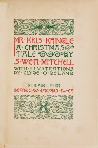 A decorative title page printed in red and green with scrollwork decorations.