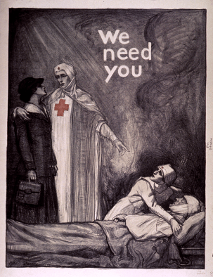An illustrated poster of a uniformed nurse welcoming a well dressed civilian woman and pointing to a nurse treating a wounded soldier.