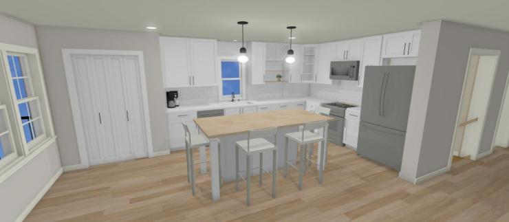 3D rendering of a new kitchen