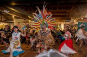 Native American dancers perform at the opening of the Native Voices traveling exhibition at the Trickster Art Gallery. [Photo by Warren Perlstein]