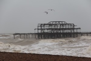 The height of the storm on Brighton beach (UK)