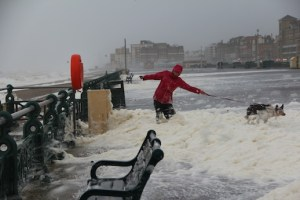 Brighton seafront in storm