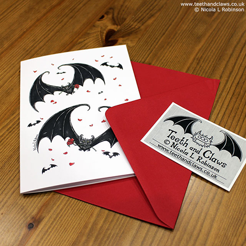 Gothic Bat Valentine Card © Nicola L Robinson www.teethandclaws.co.uk Alternative Wedding, Anniversary, Engagement