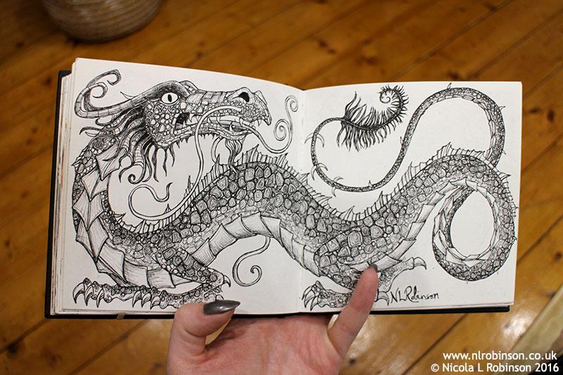 Sketchbook Dragon illustration © Nicola L Robinson