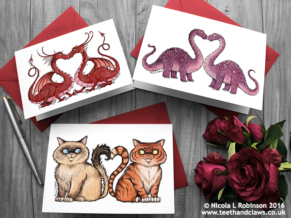Valentine cards © Nicola L Robinson all rights reserved www.teethandclaws.co.uk