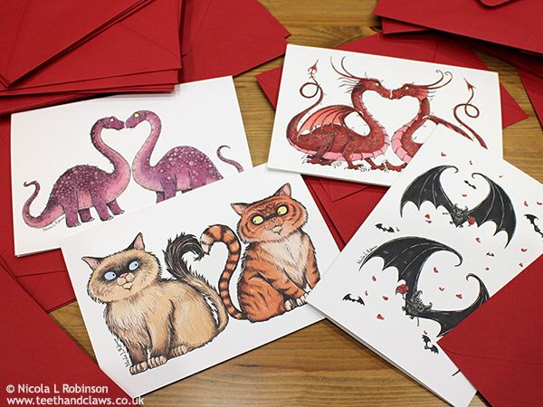 Valentine Cards Dragons, Dinosaurs, Cats and Gothic Bats © Nicola L Robinson
