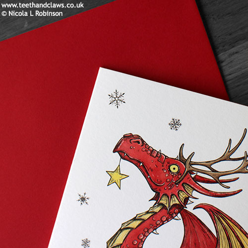 Dragon Christmas card © Nicola L Robinson 2016 www.teethandclaws.co.uk