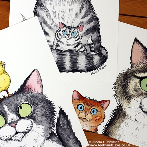 Cat art prints and cat gifts illustrated by Nicola L Robinson www.teethandclaws.co.uk