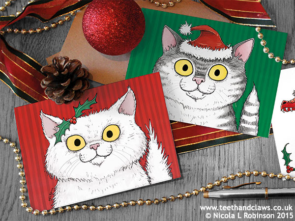Christmas Cat illustration © Nicola L Robinson All rgihts reserved www.teethandclaws.co.uk