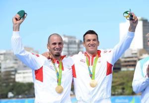 Gebroeders Sinković op de hoogste trede van het podium in Rio. Foto: Facebook.com/sinkovicbrothers.