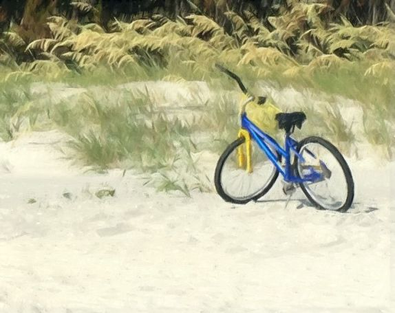 Sketched bike in dunes c gall