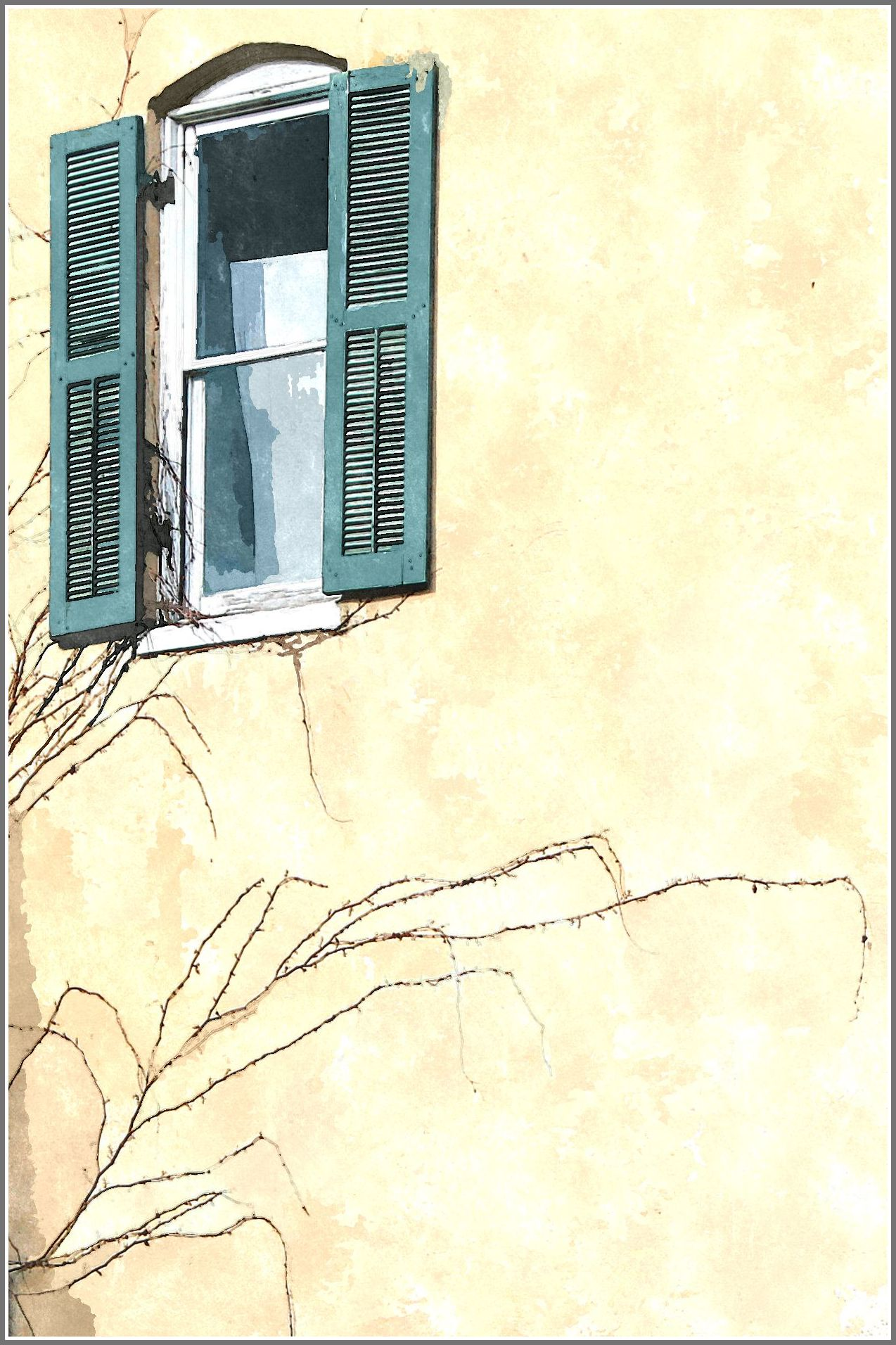 Sketched gall harpers window w border