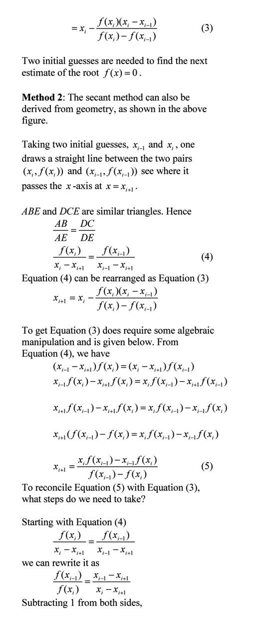 Reconciling secant method formulas