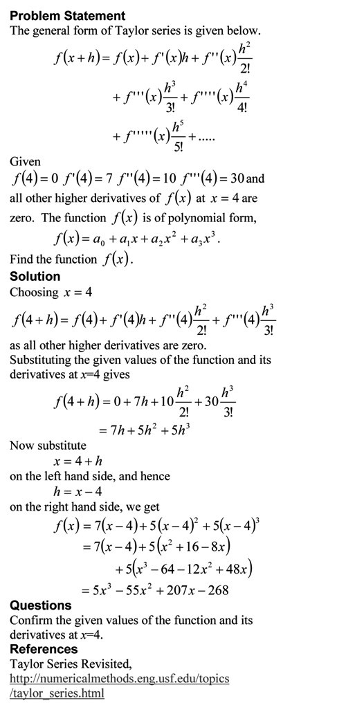 Taylor Series Exercise Method 1