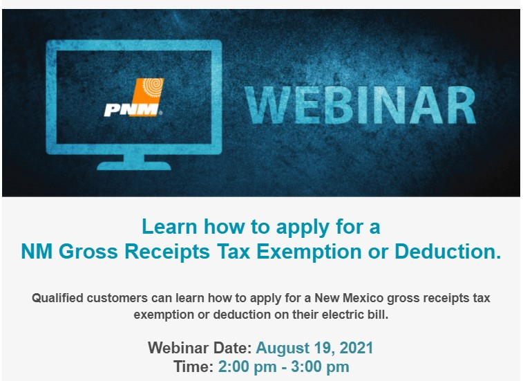 You are currently viewing PNM Webinar – Does your business qualify for a NM GRT exemption or deduction?