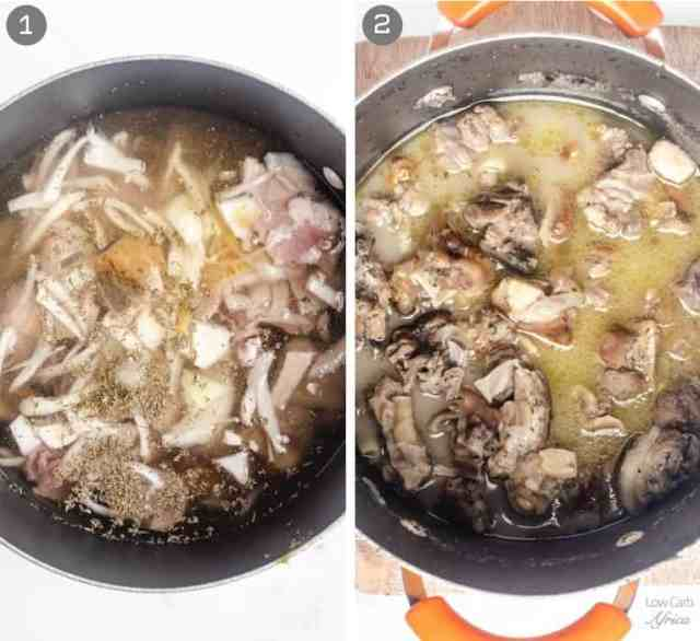 goat meat cooking in a pot