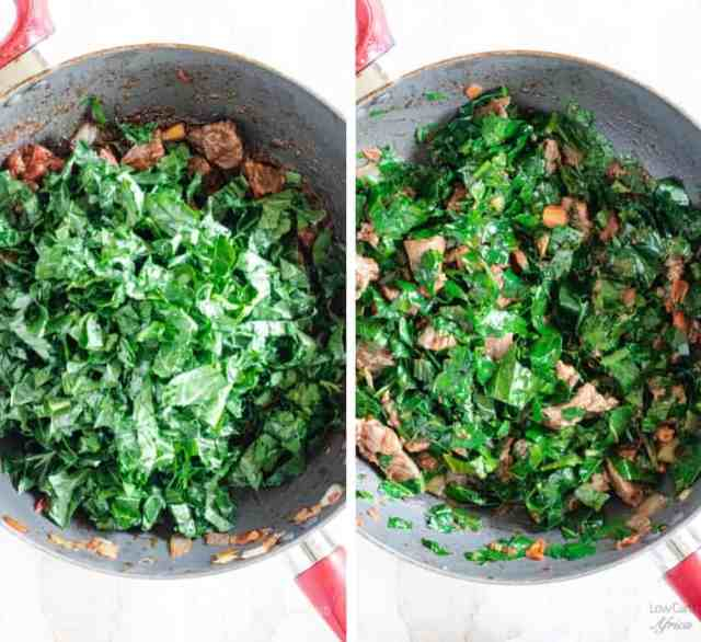 add collard greens to tomatoes and beef