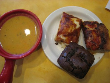 Yam bisque, chocolate muffin and focaccia