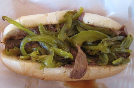 Italian Beef Sandwich with green peppers