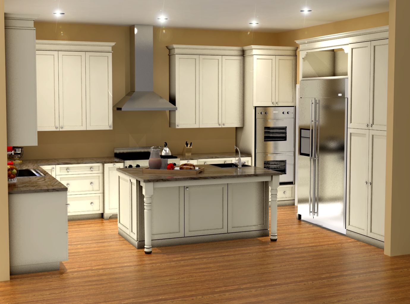 Traditional white kitchen design  3D rendering  Nick