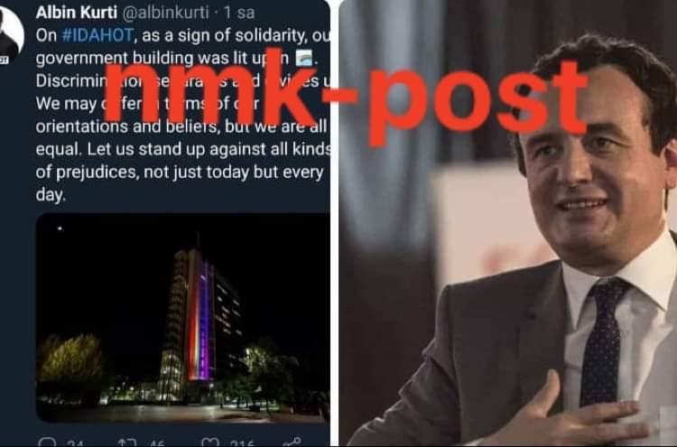 Qeveria ndriçohet me flamurin shumëngjyrësh të LGBT: Kurti vjen me mesazh