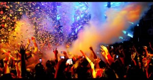 People dancing and celebrating at a show on the New Year Eve ss18122017