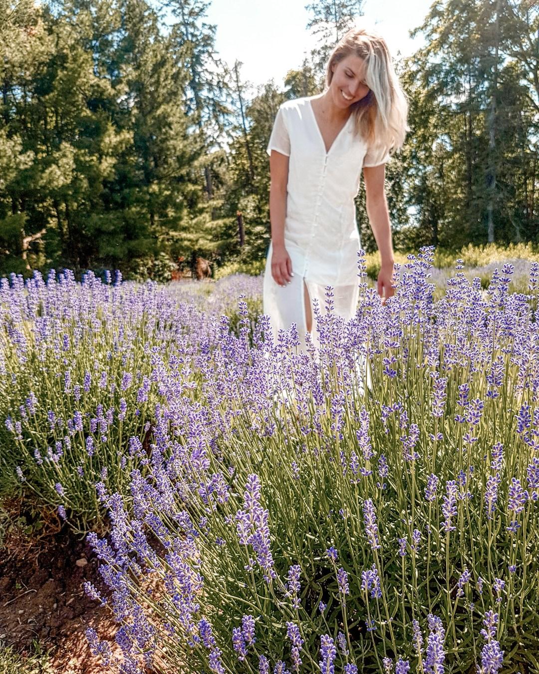 Girl walking in a lavender field