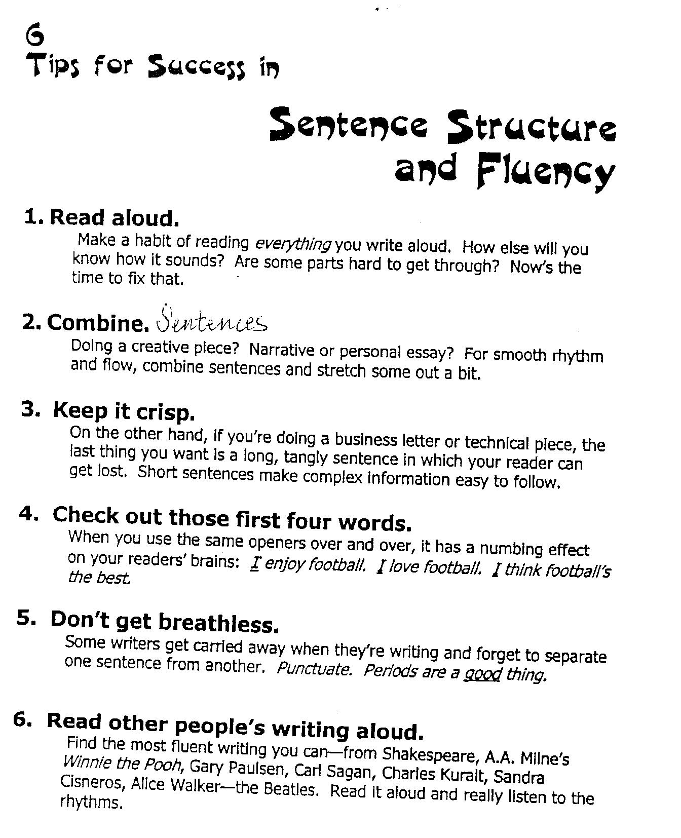 Writing Traits Worksheet
