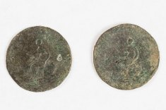 """Double-sided"" British halfpenny from Cove House (Photo by Norm Eggert for NMSC)"