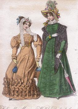 1830s fashion plate showing folded parasol. Image found online athttp://www.victoriana.com/Fashion/fashionhistory1825-1840.html
