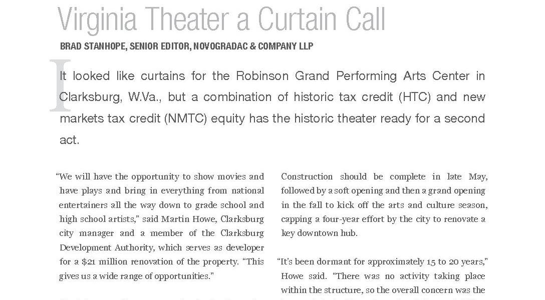 Tax Credit Equity Gives Historic West Virginia Theater a Curtain Call
