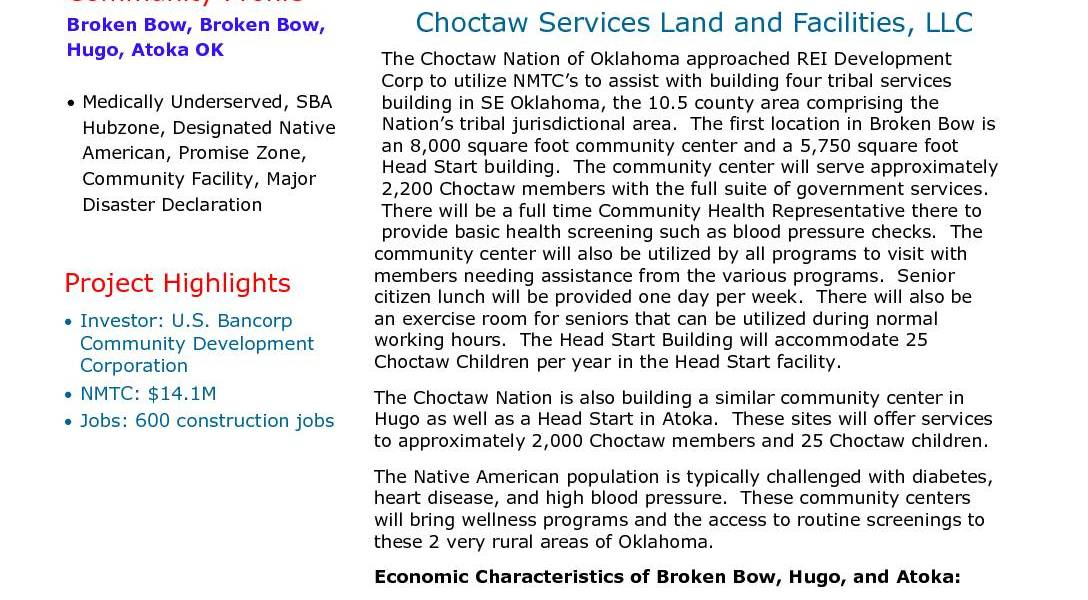 Oklahoma Choctaw Services Land and Facilities