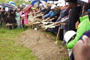 Organizations and community leaders involved in the ShopRite project's  ground breaking last year.