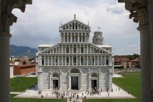 Pisa Cathedral and the Leaning Tower in the Campo dei Miracoli from the Duomo