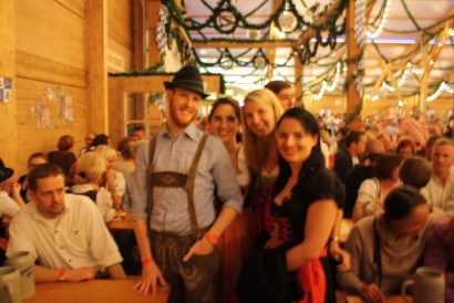 It's not out of focus -- this is just what Oktoberfest looks like by the end of the night.
