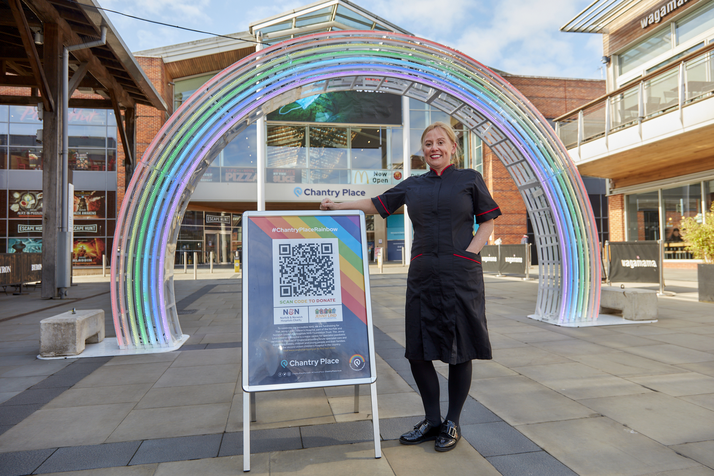 Chantry Place links arrival of giant rainbow to fundraising for the NHS