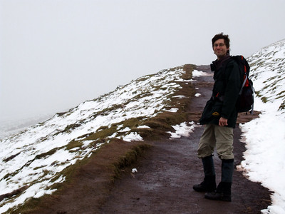 Nic on the path to Pen Y Fan: no danger of getting lost here