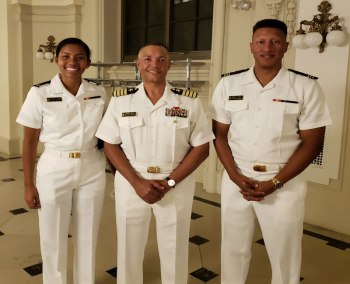 CAPT Dews with MIDN Stitt (GC Pres) and MIDN Folkes (NSBE Pres-GC V-Pres) - op
