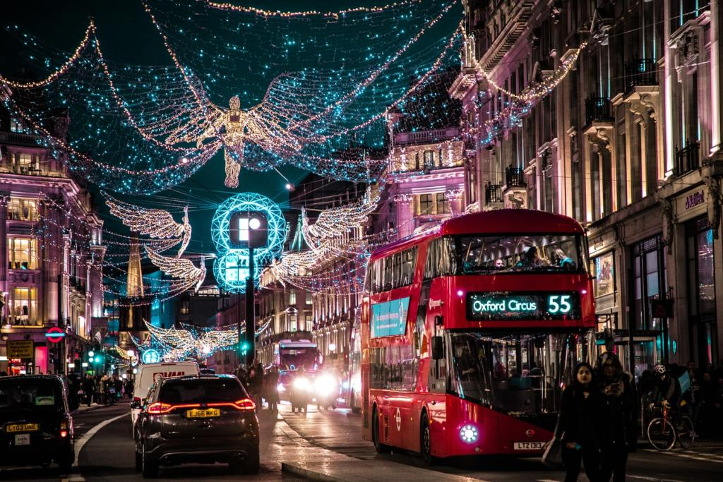 double decker red bus Britain with lights