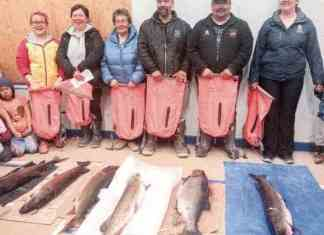 Arviat fishers will start looking for the big ones on May 12, trying to match the skills of 2016 Pike and Trout Fishing Derby winners, from left, Lakeisha Flynn (1st place trout), Janet Ishalook (2nd pike), Joy Suluk (2nd trout), Pierre Ikakhik (3rd pike), Daniel Kablutsiak (3rd trout) and Norma-Jean Kablutsiak (1st pike). - NNSL file photo