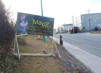 Mayoral candidate Jerald Sibbeston says he was forced to fix his signs because they exceeded the election sign bylaw, but that his competitors' signs have not faced the same scrutiny. Sidney Cohen/NNSL photo